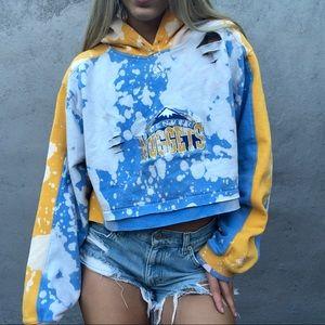 Adidas Denver Nuggets acid washed distress hoodie
